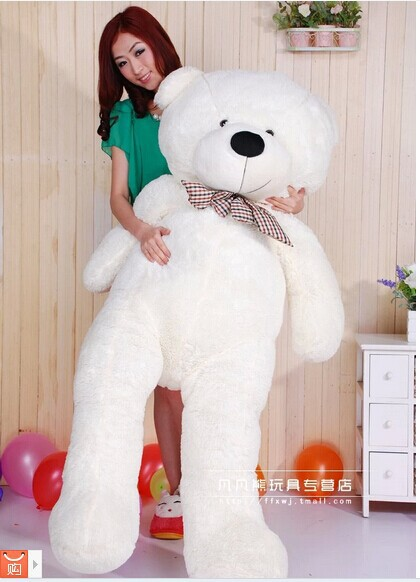 Stuffed animal 160cm white Teddy bear plush toy bowtie bear doll throw pillow gift w3516 цена и фото