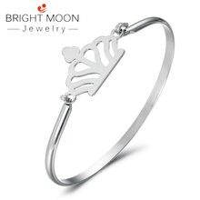 Bright Moon Bohemian Crown Bracelets Geometirc Sliver Bangle Rhinestone Stainless Steel Cuff Bracelet Luxury Jewelry