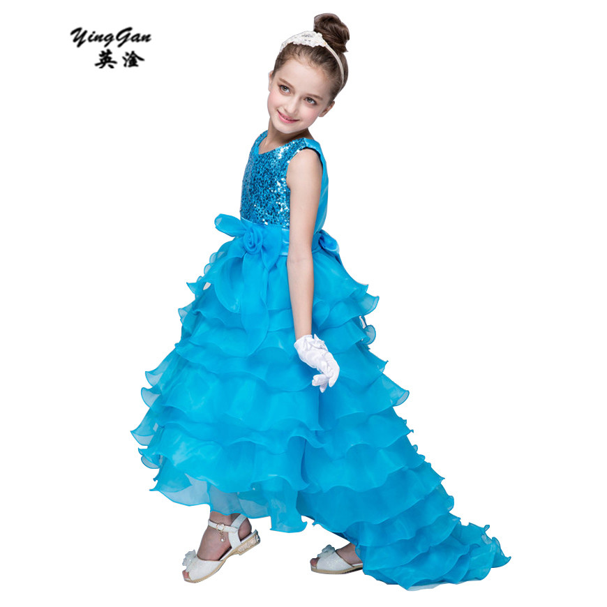 HOT Europe and the United States 2016 New WSequins edding Bridesmaid Flower Girl Dresses Prom Dress Cute Fishtail Dress 3-12T the unknown bridesmaid
