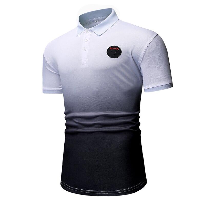 2019 Premium brand fashion Men summer gradient slim Leisure short sleeve   POLO   shirts/Male High quality   POLO   shirts size S-XXL