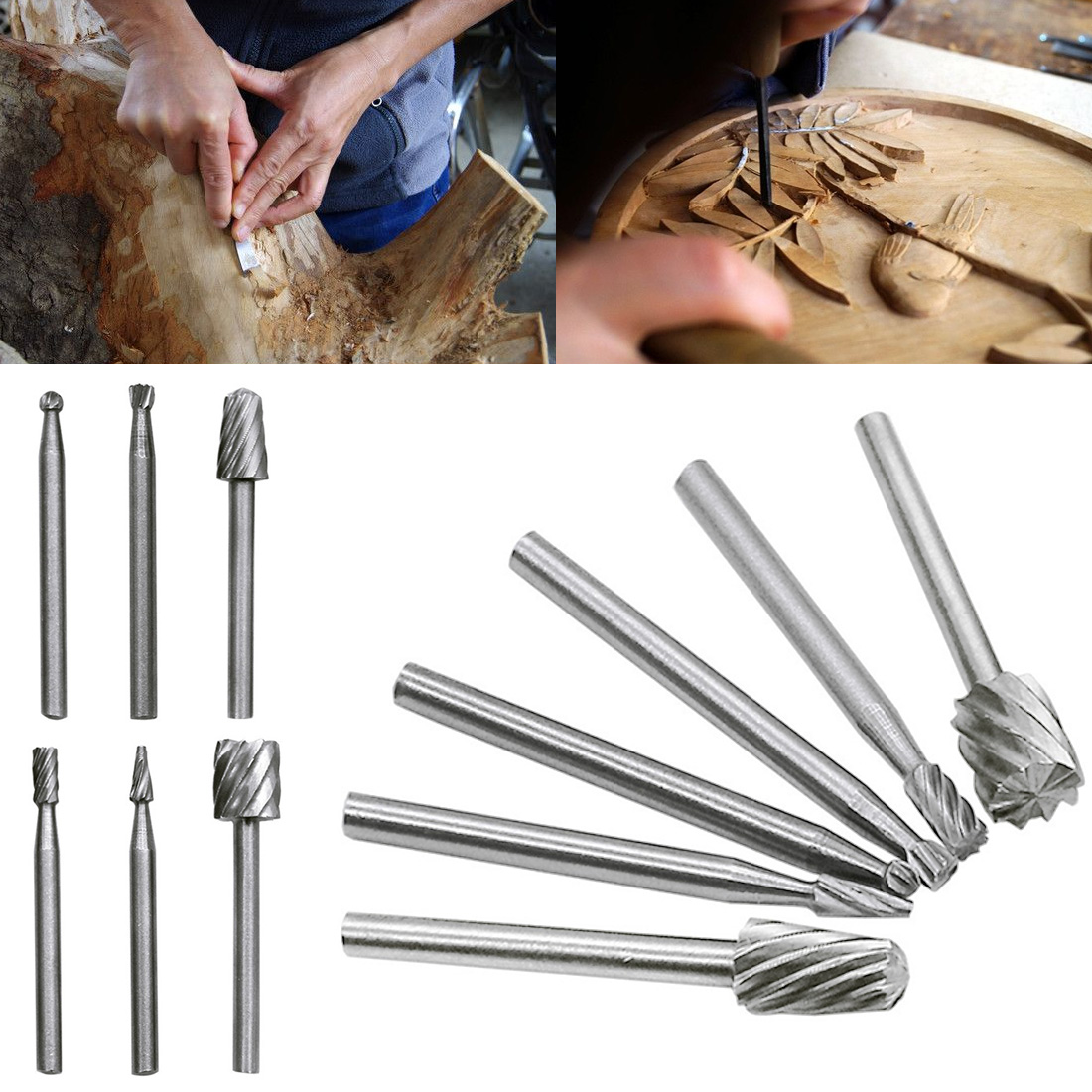 Rotary Tools 6pcs  HSS Mini Drill Bit Set Grinding Bits Milling Cutters For Wood Carving Cut Tools Kit