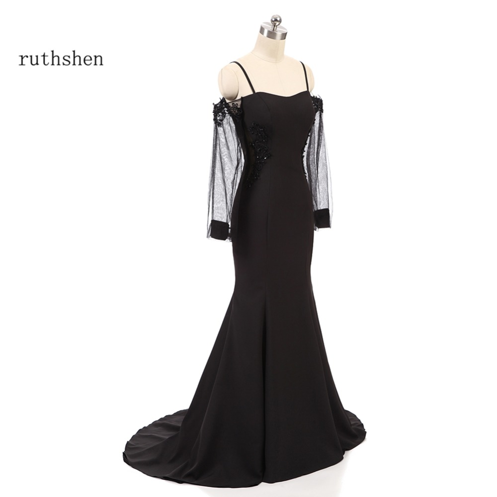 ruthshen Black Mermaid   Evening     Dresses   Long Sleeves Sexy Illusion Formal   Evening   Gowns For Women Robe De Soiree Longue 2018