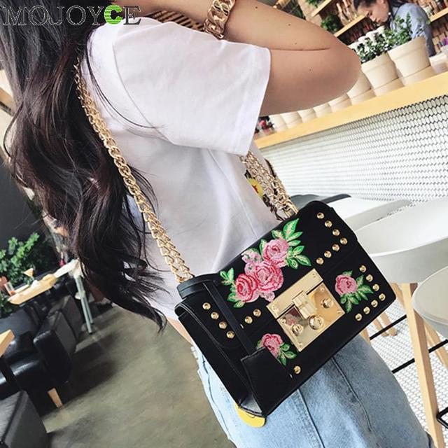 Women Embroidery Flower Bag Fashion Flap Rivet PU Leather Messenger Bag Sling Small Shoulder Bags Crossbody Messenger Bags 3