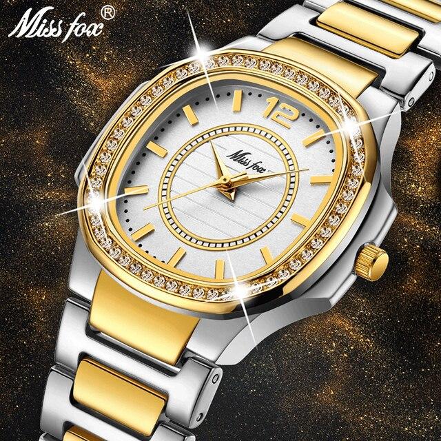 MISSFOX קוורץ שעון נשים יוקרה מותג יהלומים אנלוגי פטק גבירותיי שעונים מים עמיד 18 K זהב שעון שעה עבור נשים מתנה