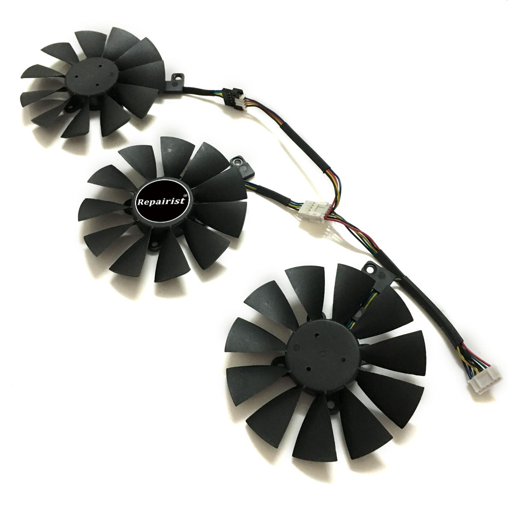 PLD09210S12HH 85MM Computer VGA cooler graphics card fan for ASUS STRIX Raptor GTX980TI R9 390X/R9 390 Video cards cooling free shipping 90mm fan 4 heatpipe vga cooler nvidia ati graphics card cooler cooling vga fan coolerboss