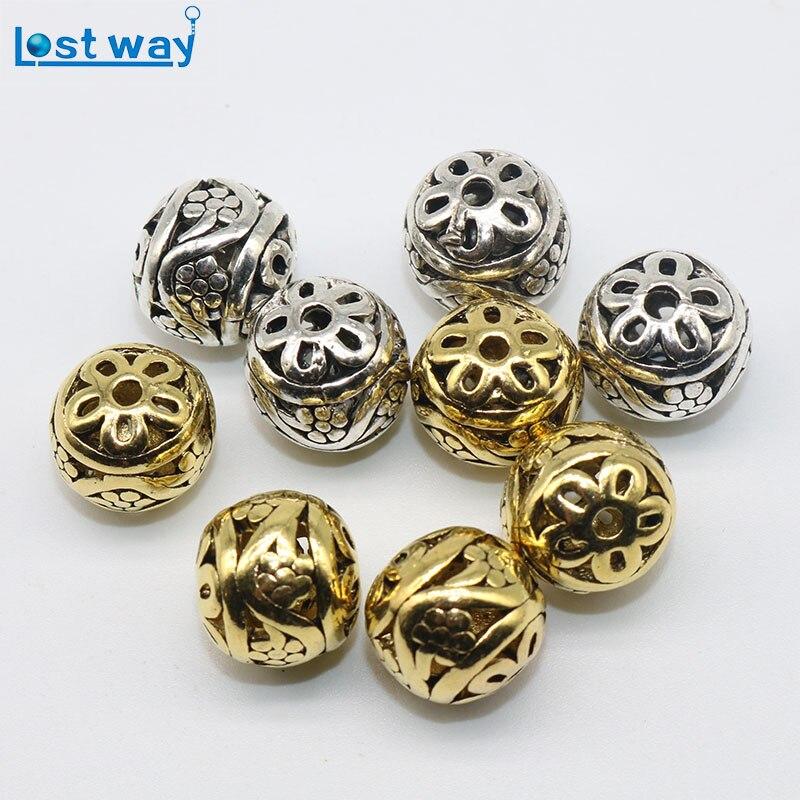 Gold Plated Silver Antique Beads: 10pcs/20pcs Metal Hollow Zinc Alloy Beads Antique Gold