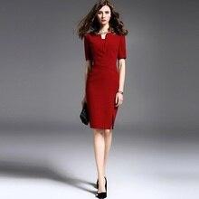 e88ffcd0342a9 2019 جديد الصيف عالية الجودة مقابلة رسمية سيدة اللباس ، ضئيلة جيدا الأوسط  الخصر الأعمال اللباس ، مهنة قلم رصاص الملابس Vestido ،.