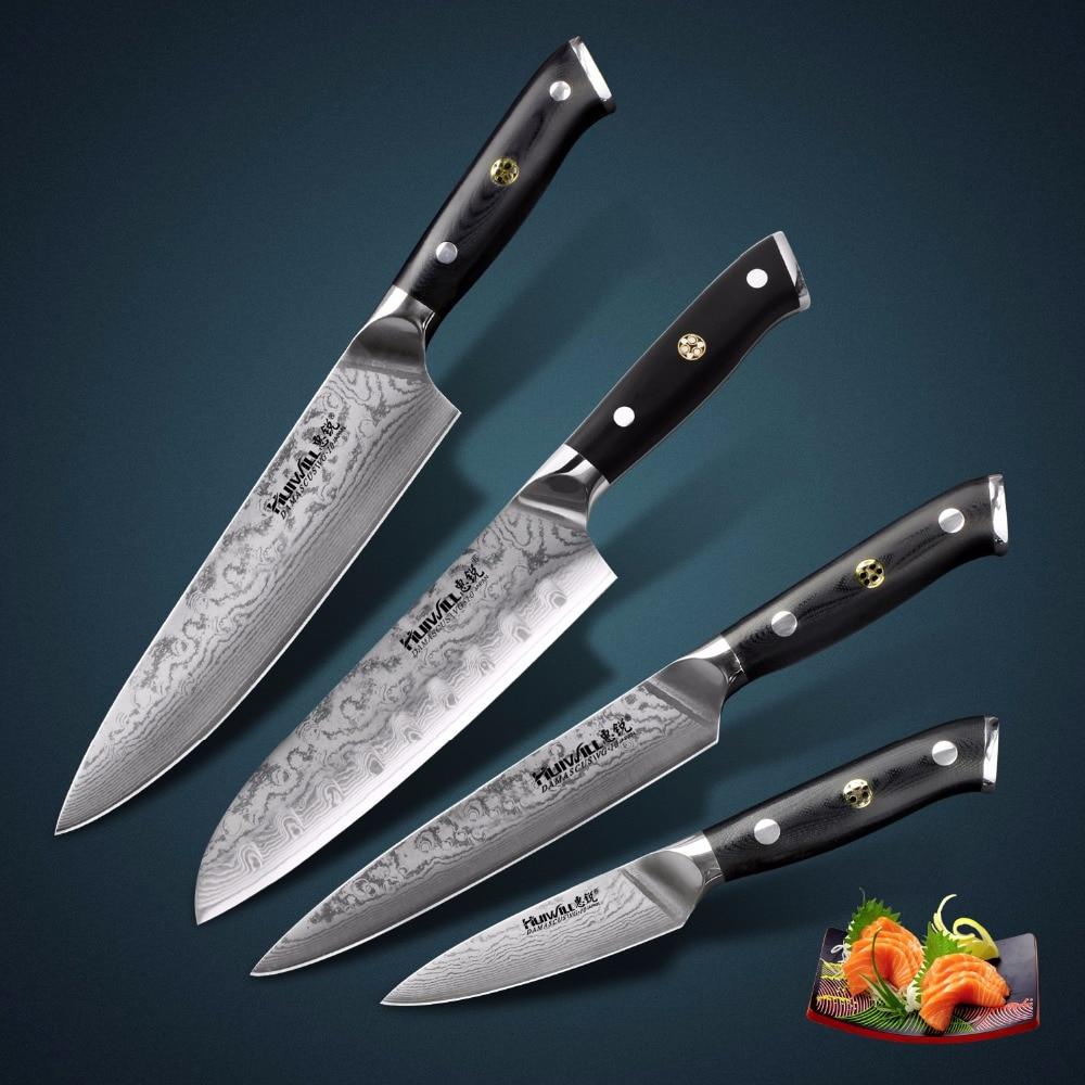 Ev ve Bahçe'ten Bıçak Setleri'de 67 katmanlar 4 adet Japon VG10 Şam çelik Şef/Santoku Mutfak Bıçağı Seti Dilimleme bıçakları Sebze Bıçakları Mozaik perçin title=
