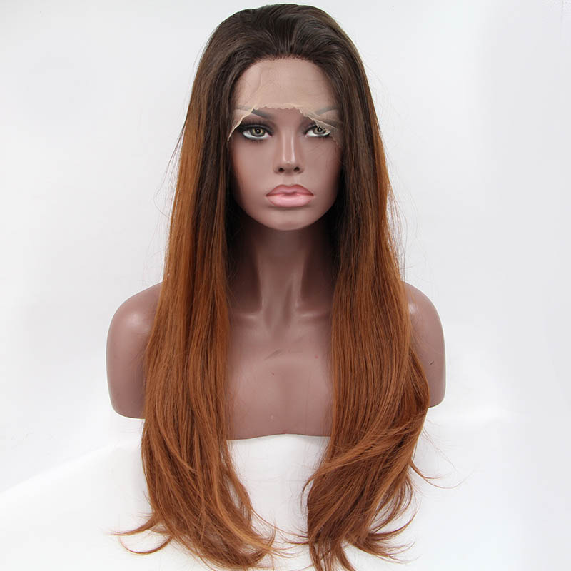 ФОТО factory price in stock brown hair ombre natural wave synthetic lace front wigs heat resistant fiber free shipping
