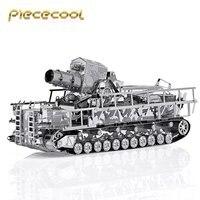 Original Piececool 3D Metal Assembling Puzzle Germany Railway Gun Tank P035 S DIY Laser Cut Model
