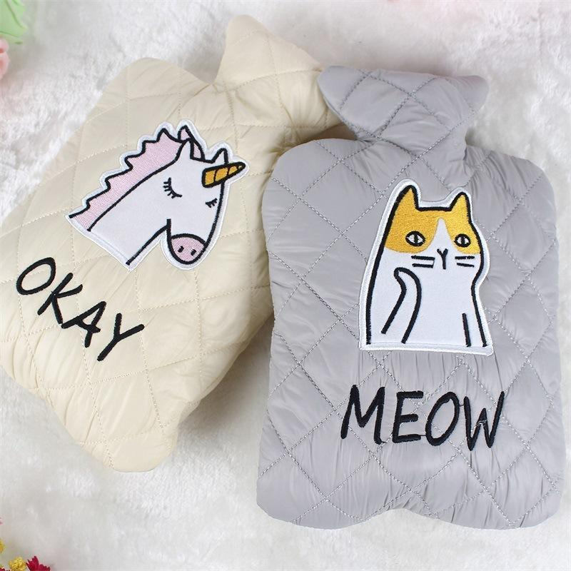 Cartoon Animals Winter Hot Water Bottle Warmer Cloth Hand Warming Hot Water Bags For Girls Belly Cover Cold-Proof Pouches v3