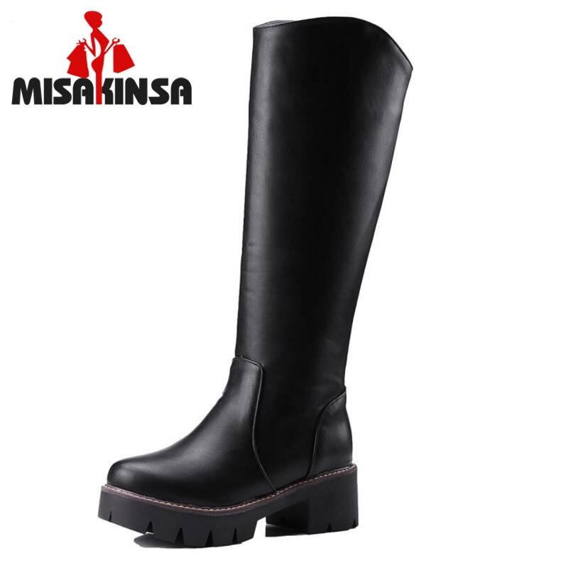 MISAKINSA Motorcycle Boot Ladies Knee Thigh High Military Botas Platform Fur Shoes Woman Winter Bootines Mujer Size 34-43