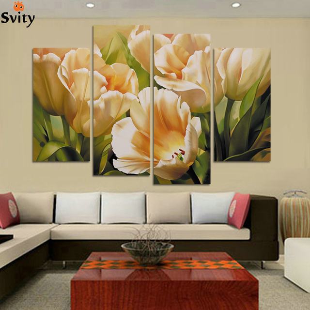 4 Panel ölgemälde tulpe blume Gemälde Leinwand dekoration wandbilder für  wohnzimmer bilder kein rahmen H109