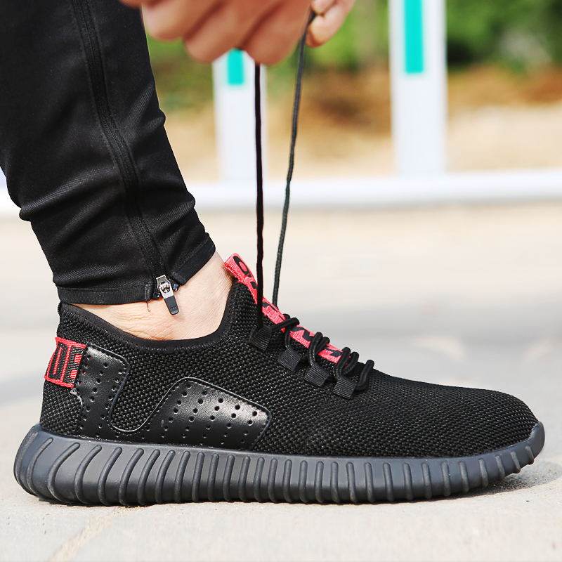 large size summer breathable steel toe covers work safety shoes men fashion anti-pierce building site soft security boots black купить недорого в Москве