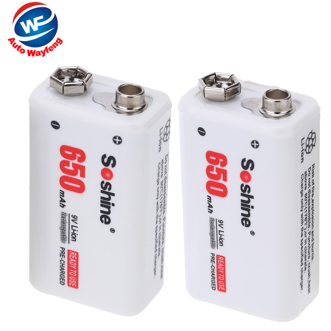 For Electronic Smoke Guitar EQ Soshine 2pc 650mAh 9V 6F22 Li-ion Lithium Rechargeable Battery