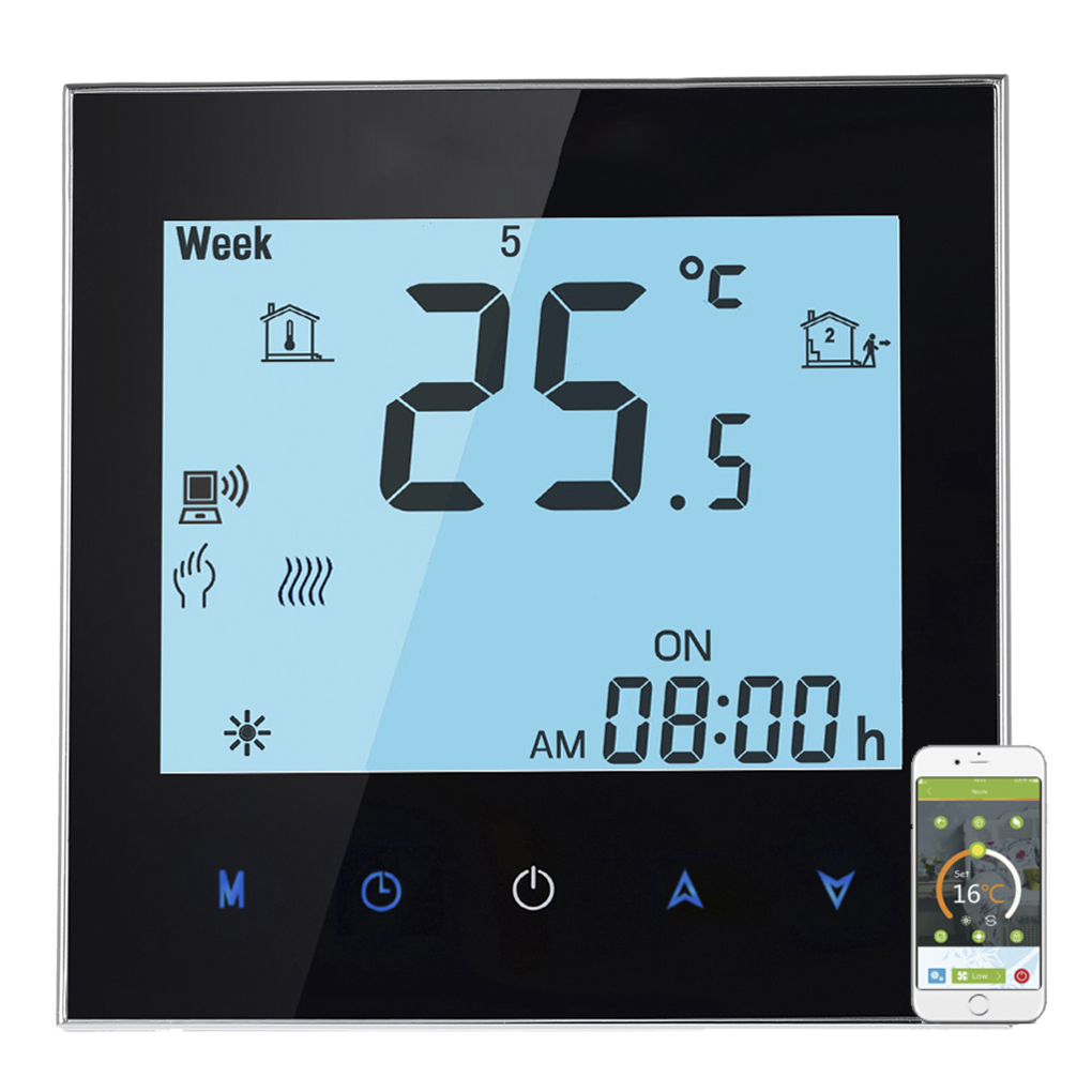WiFi Control LCD Touch Screen Programing Thermostat Boiler Heating Temperature Controller NTC Sensor 3A цена 2017