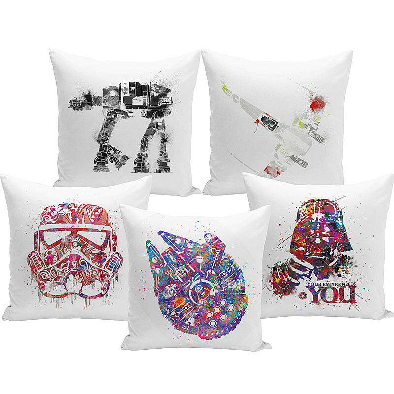 >Miracille <font><b>Watercolor</b></font> Star Wars mask Printed Throw Pillowcase Cushion Cover Office Chair Seat Cartoon Cushion Case <font><b>Home</b></font> Textile
