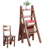 Кабриолет многофункциональный четыре шаг библиотека лестница в кресло 3 цвета Мебель для библиотек складной деревянный стул стремянка для