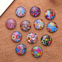 50Pcs Mixed Round Glass Cabochons Dome Seals Cameos Embellishments Crafts Making 10mm