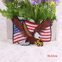 Venta caliente 1 ppiezas s cald Eagle Iron On Biker Patch USA bandera Punk parches DIY pegatinas para ropa parche bordado accesorio de costura(China)