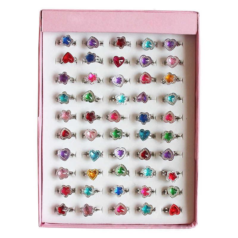 10/2 Pcs เด็กเด็กแหวนรักหวานน่ารักปรับการ์ตูนดอกไม้คริสตัลแหวนแฟชั่นเครื่องประดับสาวของขวัญ