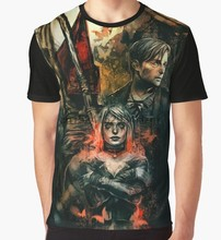 2b45ea4b All Over Print T-Shirt Men Funy tshirt Silent Hill 2 Short Sleeve O-Neck  Tops Tee women t shirt