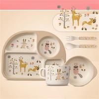 5 PCS Cute Children Tableware Set Baby Bamboo Fiber Cartoon Bowl Set Cup Spoon Plate Baby