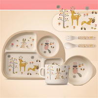 5 PCS Cute Children Tableware Set Baby Bamboo Fiber Cartoon Bowl Set Cup Spoon Plate Baby Dishes for Kids children Feeding