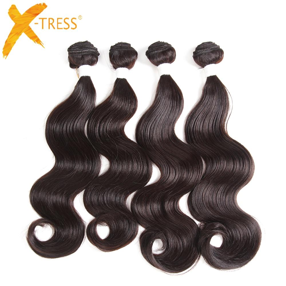 Body Wave Synthetic Hair Bundles High Temperature Fiber Hair Weaving X-TRESS Dark Brown Color Hair Weaves Extensions 4 Bundles