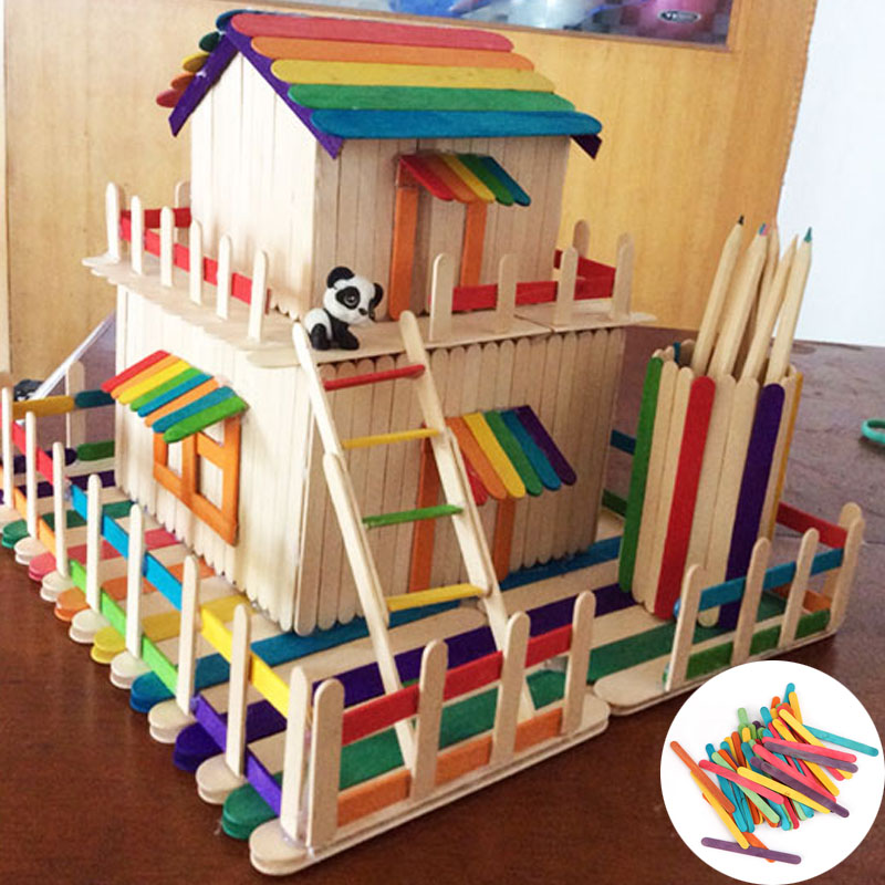 1Set/50Pcs Wooden Colorful Popsicle Sticks for Kids DIY Crafts Ice Cream Props Making