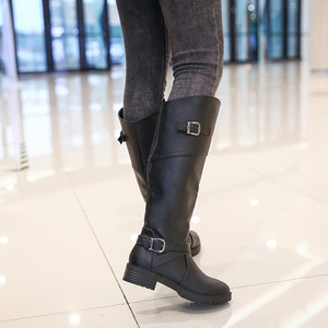 Image 3 - Drop shipping Winter Warm Fur Knee High Boots Womens Snow Boots High Heels Side Zipper Female Shoes Black Brown green Large Size