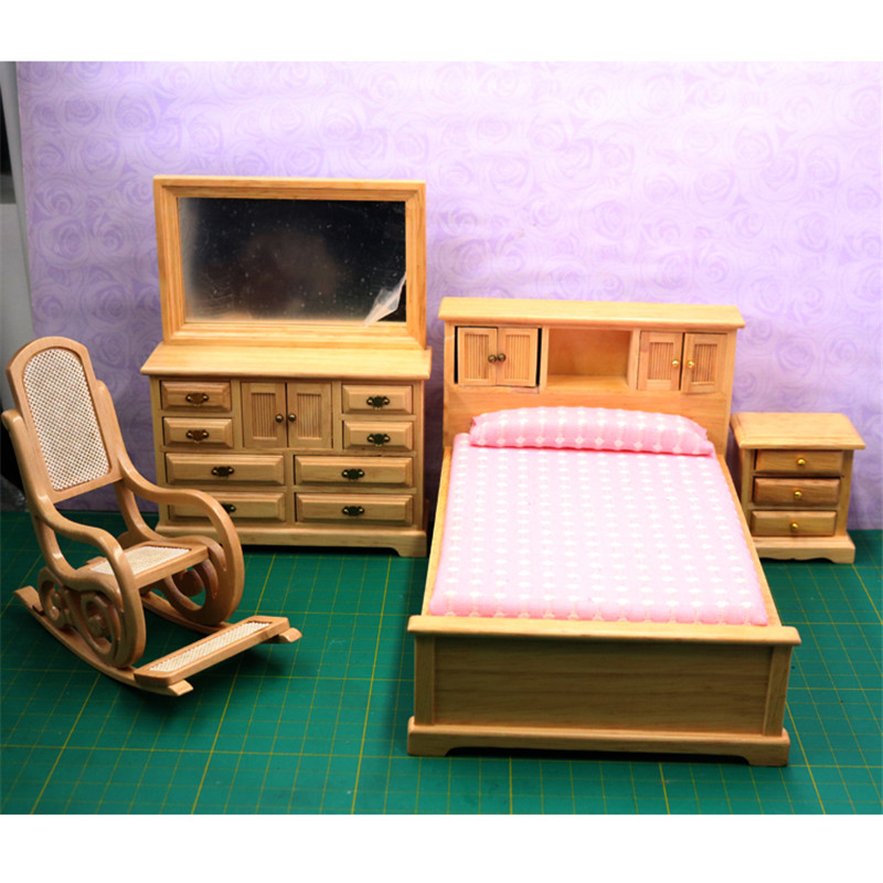 Doub K 1:12 Wooden Furniture toy yellow pink kawaii Miniature simulation bed Dollhouse bedroom pretend play toys for girls gifts cutebee pretend play furniture toys wooden dollhouse furniture miniature toy set doll house toys for children kids toy