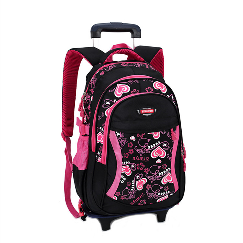 Hot style Lovely pink student trolley schoolbag/fashion shoulder casual bag Alphabet zipper removable backpack bags girl bookbag