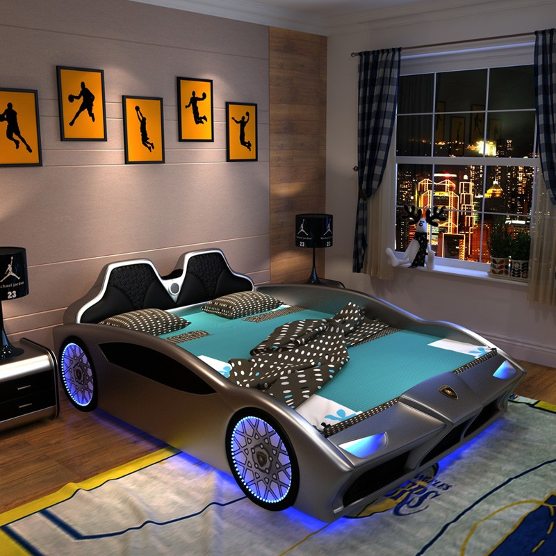 Racing Car Style Kid Beds With Soft Protection