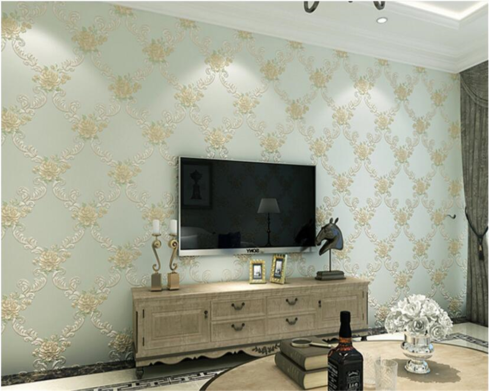 beibehang Classic dimensional European pastoral nonwoven warm bedroom living room sofa background 3d wallpaper papel de parede beibehang stereo 3d nonwoven fabric wallpaper warm bedroom living room full of european style pastoral flowers wallpaper behang