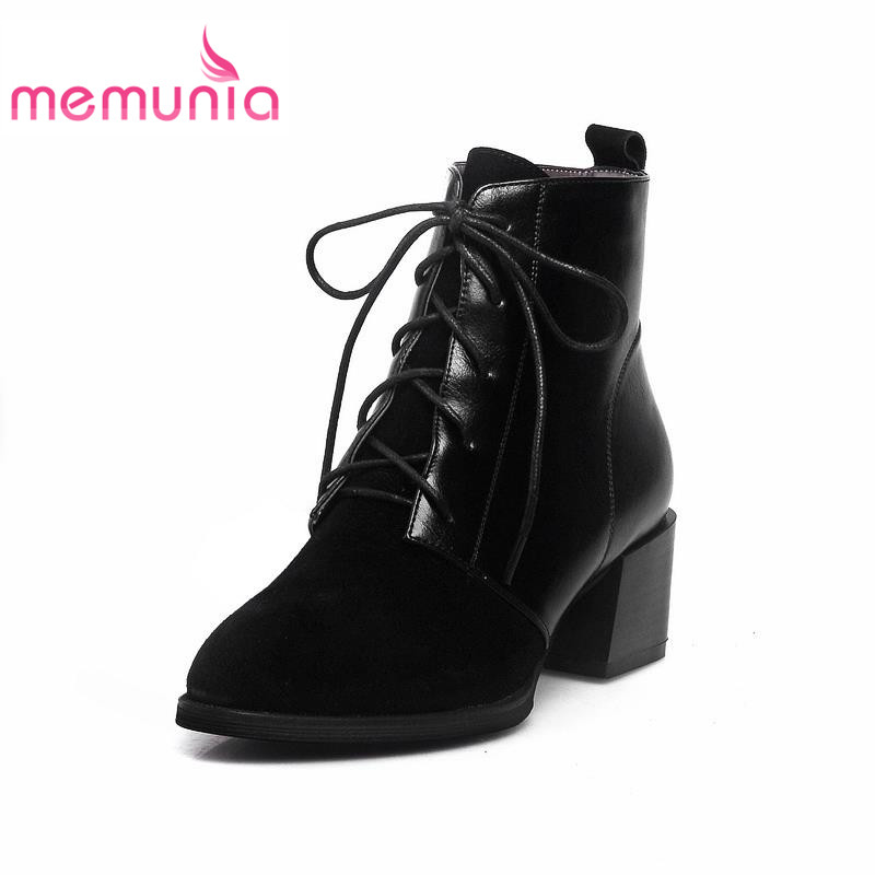 ФОТО 2017 fashion ankle boots with lace-up plain med square heels autumn spring solid pointed toe soft pu leather casual boots