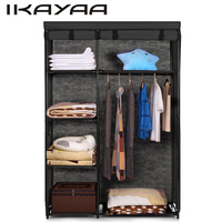 IKAYAA Armario Ropero Fabric Folding Closet Wardrobe Cloth Cabinet Roll Up Clothes Organizer Hanger Rack With