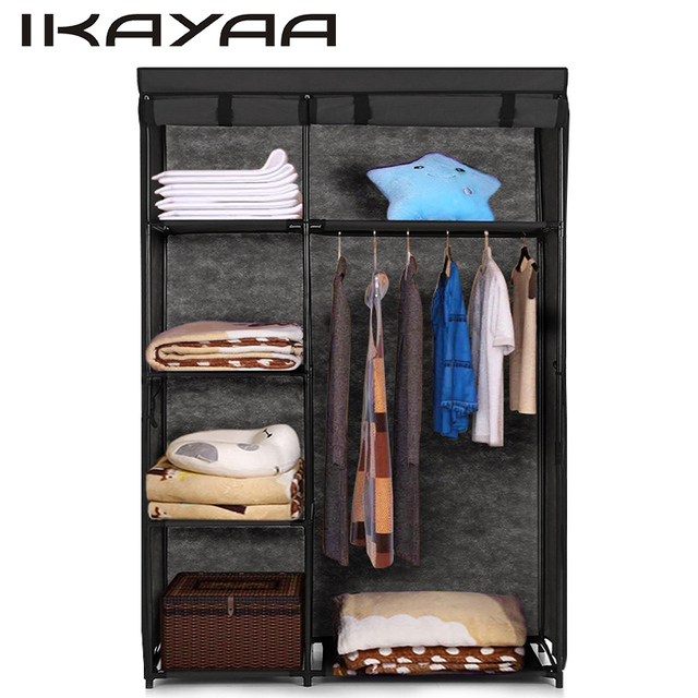 IKayaa Fabric Folding Closet Wardrobe Cloth Cabinet Roll Up Clothes  Organizer Wardrobe With 5 Storage Shelves