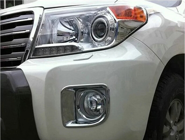 Car head and tail fog light cover,auto  fog light bezel for toyota Land cruiser FJ 200,ABS chrome,4pc/lot,free shipping