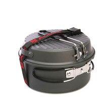 ALOCS 9Pcs Cooking Set Outdoor Portable Camping Hiking Picnic Cookware Pot Pan Bowl Cup Camp Tool