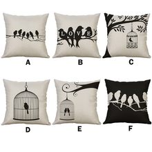 Nordic Black White Linen Sofa Cushion Cover Throw Pillow Home Decor Decorative Pillowcase Pillow Covers 45*45/40*40cm Kussenhoes(China)