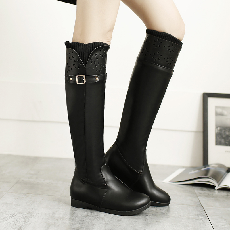 ФОТО 2016 NEW Fashion Winter Women Boots PU Leather Round Toe Female Boots Slip-on Up Hollow Out Flat Shoes 3 Colors