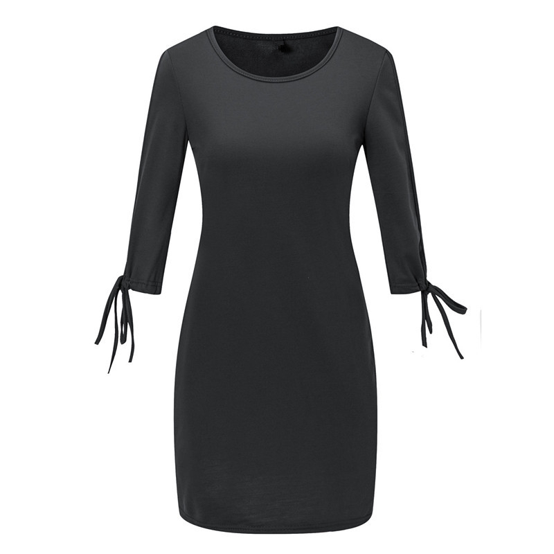 Autumn Elegant High Street Bodycon Dress Women Office Work Long Sleeve O-Neck Sexy Black Midi Dress Robe New Desgin Lides Desses