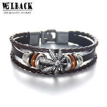 Welback Fashion Jewelry Canada Maple leaves Ethnic Style Multilayer Retro Charm Leather Bracelets Plant For Women And Men(China)