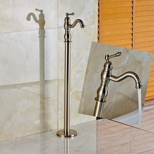 Brushed Nickel Bathroom Tub Faucet Floor Mounted Tub Filler Spout Mixer Tap NEW
