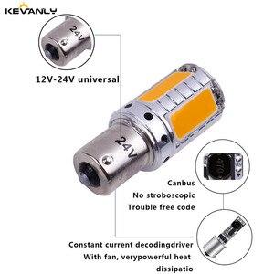 Image 3 - 2 Stuks Canbus 12V 24V P21W BA15S BAU15S PY21W S25 1156 Cob Led Auto Backup Reserve Licht richtingaanwijzer Daytime Light Amber