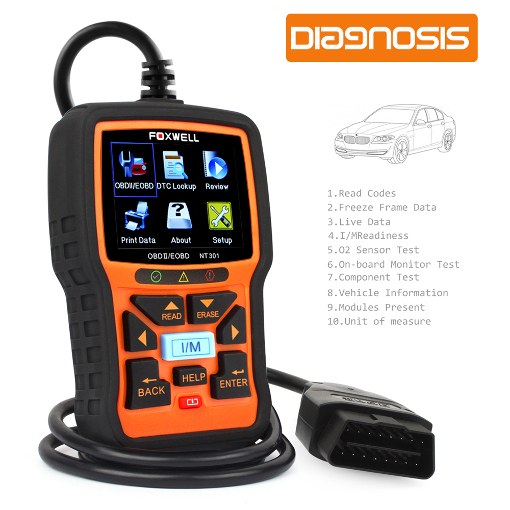 US $74 43 |Automotive Scanner Foxwell NT301 OBD OBD2 Auto Diagnostic Tool  Engine Fault Code Reader with O2 Sensor Scan Tool Code Scanner-in Code