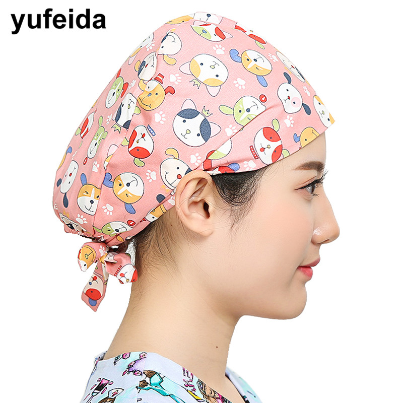 YUFEIDA Scrub Surgery Medical Surgical Cap Hospital Dotor and Nurse Working-Wear Printing Adjustable Hat for Opeartion