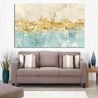 Рамка абстрактная Золотая денежная морская волна Картина маслом на холсте плакат и печать современное искусство Настенная картина для гос