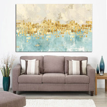 Frame Abstract Gold Money Sea Wave Oil Painting on Canvas Poster and Print Modern Art Wall Picture for Living Room Cuadros Decor(China)